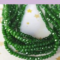 Cristal facetado verde con brillos dorados de 2 x 2 mm, tira de 190 cristales