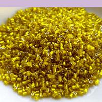Mini canutillo amarillo cristal 6 x 1,5 mm, set de 25 grs