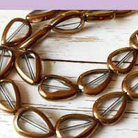 Perla de vidrio y cobre em forma de gota, 17 x 11 mm, tira de 20 vidrio aprox.