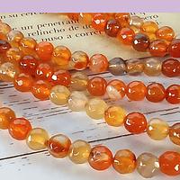 Agatas, Agata en tonos naranjos en 6 mm, tira de 64 piedras aprox