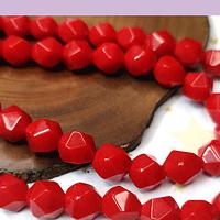 Jade rojo corte hexagonal, 10 mm, tira 17 unidades