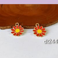 Dije flor esmaltado, en color rojo, 11 mm de diámetro, set de dos unidades.