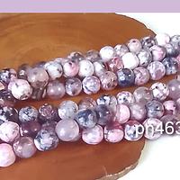 Agatas, Agata en tonos rosado jaspeada en 6 mm, tira de 64 piedras aprox