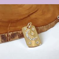 Dije zirconia micropavé, dorado circones, 16 x 10 mm, por unidad