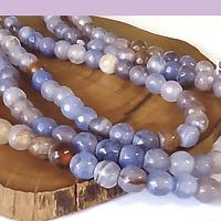 Agatas, Agata en tonos celestes y cafés en 6 mm, tira de 64 piedras aprox