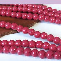 Perla de vidrio rojo cherry 6 mm tira de 72 piedras aprox