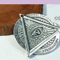 Colgante plateado tetragramon, 35 mm por unidad