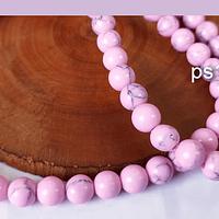 Piedra Howlita rosada, de 6 mm, tira de de 64 piedras aprox.