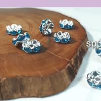 Strass plateado con cristales celestes, 8 mm, set de 10 unidades