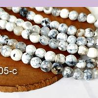 Agatas, Agata en tonos blancos y grises en 6 mm, tira de 62 piedras aprox