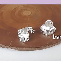 Aro terminado baño de plata en forma de conchita, 10 x 9 mm, por par