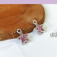 Dije estrella con strass rosado, por ambos lados, base plateada, 11 mm, set de 2 unidades
