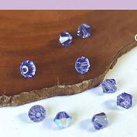 Cristal Austriaco tupi de 4 mm, color lila tornasol, set de 10 unidades