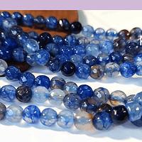 Agatas, Agata en tonos azules en 6 mm, tira de 62 piedras aprox