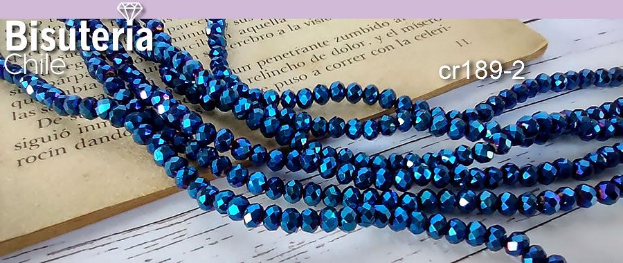 cristal azul brillante 4 mm, tira de 130 cristales aprox