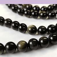 Obsidiana negra de 8 mm, tira de 46piedras aprox.