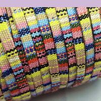 Cordón étnico plano en color  amarillos y verdes, 5 mm de ancho, por metro