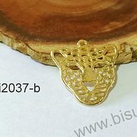 Colgante baño de oro en forma de tigre, 24 x 23 mm, set de 6 unidades