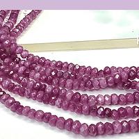Agatas, Agata RONDELL color rosa matizado oscuro de 4 mm, tira de 130 piedras aprox