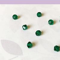Cristal Austriaco tupi de 4 mm, color verde, set de 10 unidades
