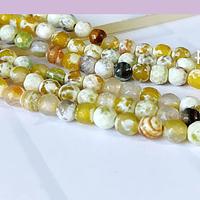 Agatas, Agata en tonos amarillos en 6 mm, tira de 62 piedras aprox