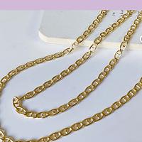 Collar baño de oro, eslabón de 6 x 4 mm, 45 cm de largo, por unidad