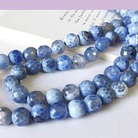 Agatas, Agata facetada en tonos celestes de 8 mm, tira de 46 piedras apróx