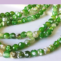 Agatas, Agata en tonos verdes en 6 mm, tira de 62 piedras aprox