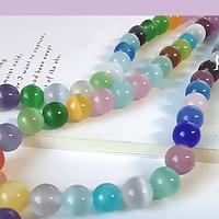 Ojo de gato multicolor de 8 mm, tira de 46 piedras aprox.