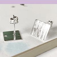 Base de aro baño de plata, 9 x 9 mm, por par