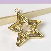 Colgante baño de oro en forma de estrella, 30 x 25 mm, por unidad