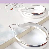 Aro tipo argolla baño de plata, 30 x 6 mm, por par