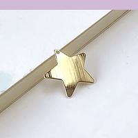 Dije baño de oro en forma de estrella, 17 mm de diámetro, (set por mayor, de 12 unidades)