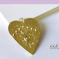 Colgante corazón con ojo de orus baño de oro, 32 x 24 mm, por unidad