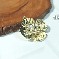 Colgante baño de oro en forma de flor,  22 mm, set de 6 unidades (por mayor)