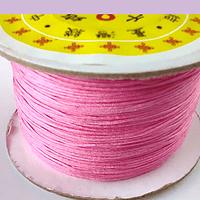 Hilos, Hilo chino macrame color rosa fuerte, 0,5 mm de ancho, rollo de 150 metros