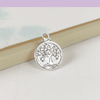 Dije baño de plata en forma de árbol de la vida de 11 mm, por unidad