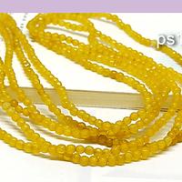 Agatas, Agata 2 mm , en tonos amarillo, tira de de 165 piedras aprox.