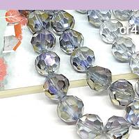 Cristal redondo facetado 10 mm, gris tornasol, set de 14 unidades