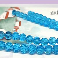 Cristal redondo facetado celeste, de 10 mm, set de 15 unidades