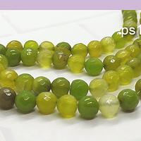 Agatas, Agata facetada en tonos verdes de 8 mm, tira de 46 piedras apróx