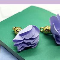 Borla flor lila, base dorado 24 mm de largo, por par