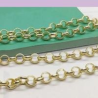 Cadena baño de oro, eslabón de 6 mm, 2 mm de grosor, eslabón cerrado, por 50 cm.