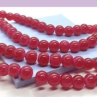 Perla de vidrio 8 mm color fucsia tira de 54 unidades aprox