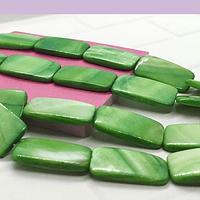 Nacar rectangular verde, 25 x |5 mm, tira de 16 piezas
