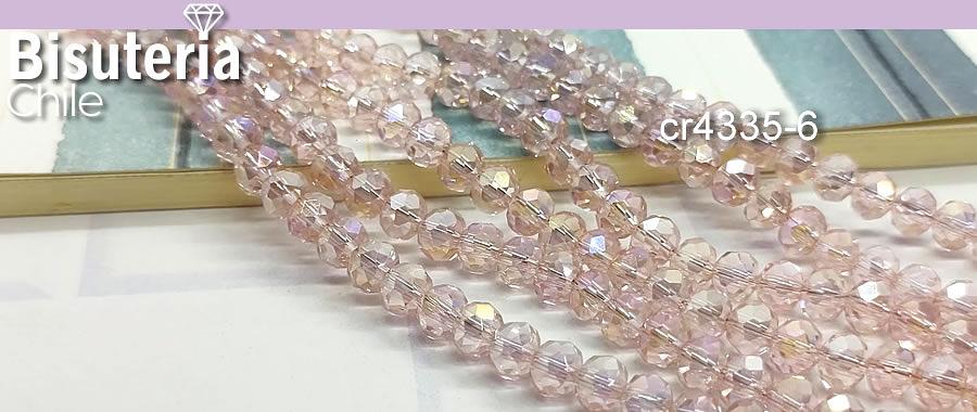 Cristal facetado en color rosado tornasol de  6 mm, tira de 94 cristales aprox