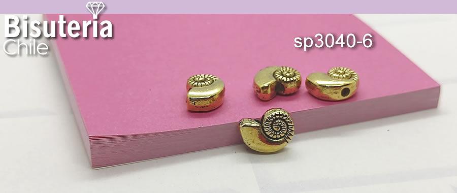 Separador en forma de caracola dorada, 11 x 8 mm, agujero de 2 mm, set de 45 unidades