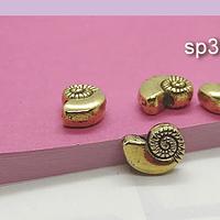 Separador en forma de caracola dorada, 11 x 8 mm, agujero de 2 mm, set de 5 unidades