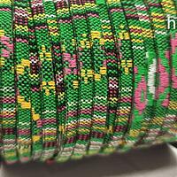 Cordón étnico plano en colores verde y amarillo, 5 mm de ancho, por metro
