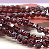 Cristal redondo de 6 mm, color ciruela, tira de 50 cristales aprox